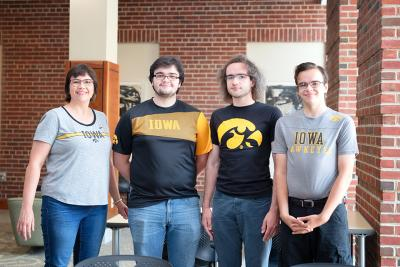 Four members of the Roeder family are enrolled at the University of Iowa this semester. From left to right, they are mom Shona Roeder and her sons, Tristan, Shamus, and Teegan Roeder.
