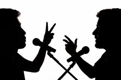 speaking silhouettes with microphones