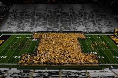 "The Class of 2023 makes a letter ""I"" during Kickoff at Kinnick."