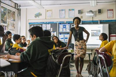 Tai D. Matthews leads a lesson on ancient Greece in her 6th grade humanities class at the Paterson (N.J.) Academy for the Gifted and Talented