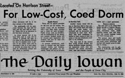 Close-up of 1966 Daily Iowan front page