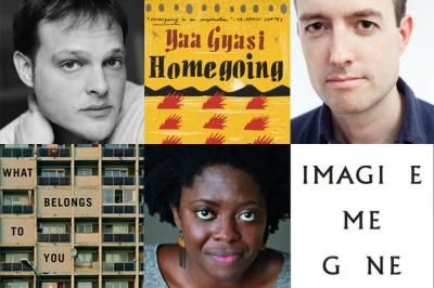 Garth Greenwell, Yaa Gyasi, and Adam Haslett with book covers