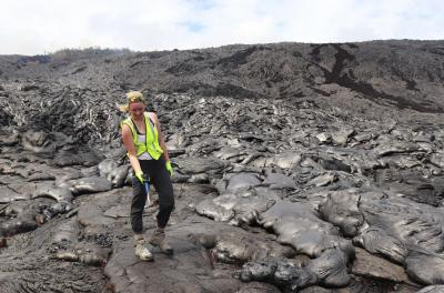 allison kuscik on lava with rock hammer