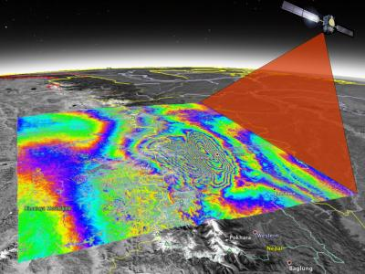 graphic of earthquake satellite imaging