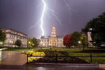 Lightning strikes beyond Old Capitol
