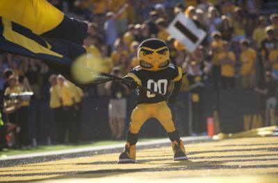 herky waving flag in end zone
