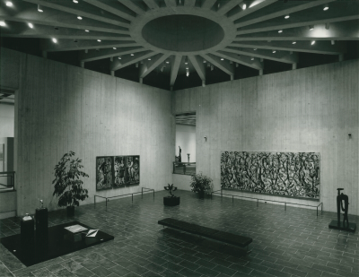 Max Beckmann's Karneval and Jackson Pollock's Mural are seen in the University of Iowa Stanley Museum of Art's sculpture court when the museum opened in 1969.
