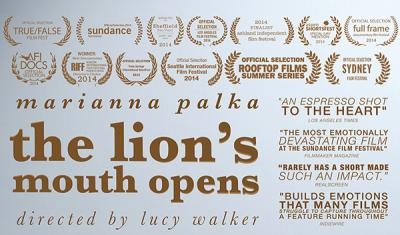"""A poster depicts screening of """"The Lion's Mouth Opens"""" documentary"""