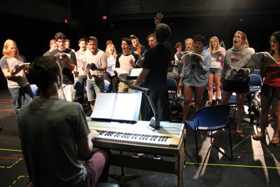 theatre case rehearses on stage