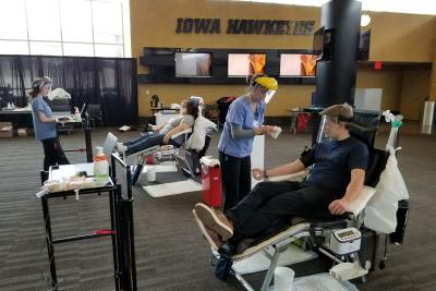 blood drive held at Carver-Hawkeye Arena