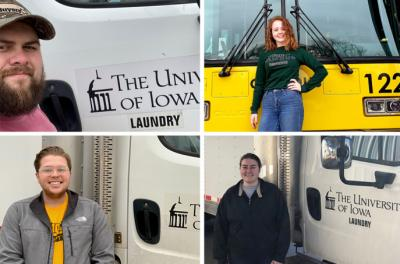 four cambus student employees who have volunteered to help deliver linens to the hospitals for university of iowa laundry services