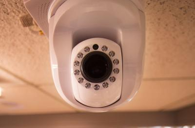 camera in hallway of pappajohn business building