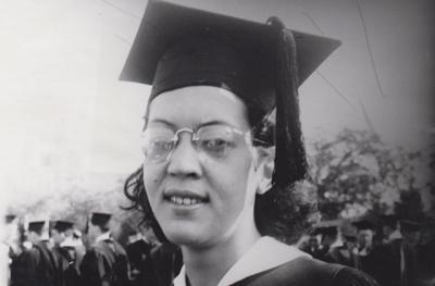 elizabeth catlett wearing cap and gown