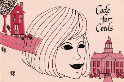 illustration with house, women's head, and Old Capitol