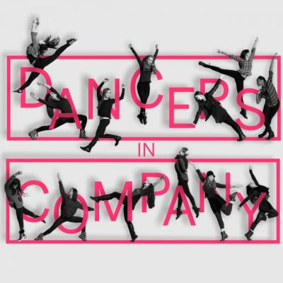 dancers in company members among word logo