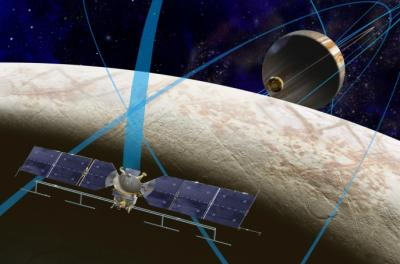 A rendering of the NASA mission around Europa