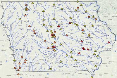 flood map of Iowa