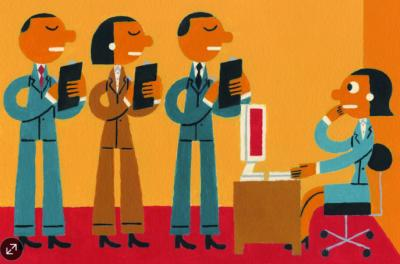 Graphic illustration of people talking in an office while someone sits at a desk.