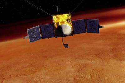 Artist conception depicting MAVEN orbiting Mars. Image courtesy of NASA Goddard Space Flight Center.