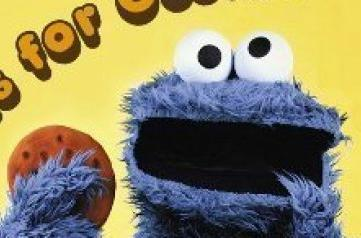 The Cookie Monster eating a cookie