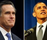 Photo of presidential candidates, contender Mitt Romney and incumbent Barack Obama