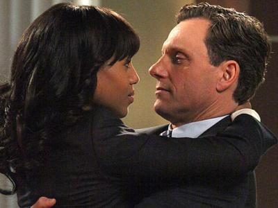 Image from the television show, Scandal, of Olivia Pope and the U.S. President in an intimate embrace