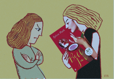 Illustration of two women looking at the book jacket of 'Bell Jar'