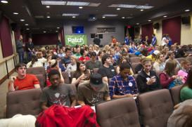 UI students pack the Bijou Cinema at the Iowa Memorial Union to watch the second nationally- televised presidential debate