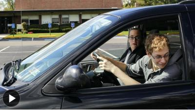 Suzy Hoyle has been teaching her son Gracein, 15, the basics of driving. Will Figg for The Wall Street Journal