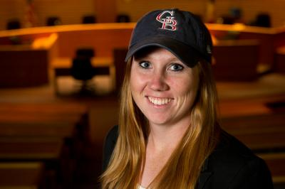 Stacie Townsend wearing her softball hat