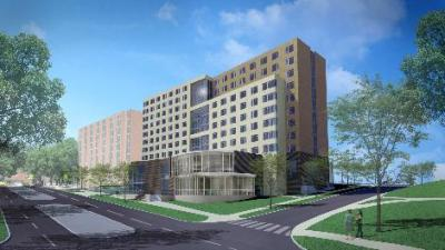 This artist rendering shows the concept for a new dormintory on the University of Iowa campus.