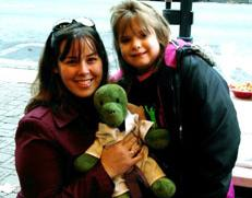 Nine-year-old Virginia Buck with Katie Moser, a former president of the Huntington's Disease Society of America's National Youth Alliance and a well-known Huntington disease advocate
