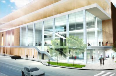 a rendering of the main entry for the Voxman School of Music/Clapp Recital Hall
