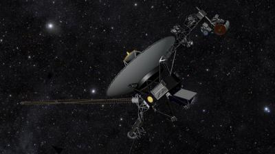 An artist's rendering of the Voyager spacecraft