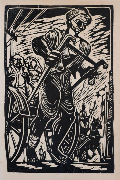 A woodcut art print showing a man pulling a wagon with two people in it