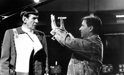 Nicholas Meyer on set with Leonard Nimoy during the shooting of Star Trek VI: The Undiscovered Country. The photo is archived in the University of Iowa Libraries' Special Collections as part of a collection donated by Nicholas Meyer.