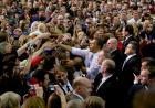 President Obama greets people following his speech.