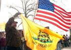 A man holds a Don't Tread on Me flag.