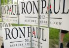 A group of Ron Paul signs.