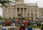 Crowds gather on the Pentacrest Saturday ahead of the Preservation Hall Jazz Band performance.
