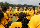I first-year students in The Iowa Edge program plan their strategy during a team building exercise at the High Adventure Challenge Course. It was one of the many activities held Aug. 17-20 throughout the UI campus as part of the program, designed for 100