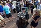 People gathered at commencement.