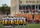 Football team on a football field.