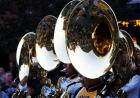 A closeup of tuba players in downtown Iowa City.