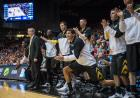 Iowa bench celebrating after a made shot.