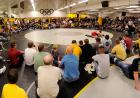 Big crowd watches wrestling action.
