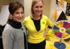 We Are Phil co-chair Joni Troester (left), UI Human Resource Services Director of Organizational Effectiveness/Health and Productivity, enjoyed a We Are Phil Carnival on Wednesday, 10/15, in the University Services Building with Megan Hammes, UI Wellness