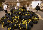 Football gear piled high