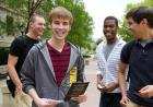students with information about philanthropy