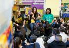 Abby McClatchey, Morgan Mendieta, and Ariel Ferguson read from On the Block before a group of Chicago elementary students.